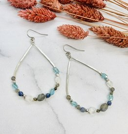 Native Gems FAIRYDUST Sterling silver teardrop hoop earrings with a mix of hand wrapped natural opal, apatite, pearl and herkimer diamond.