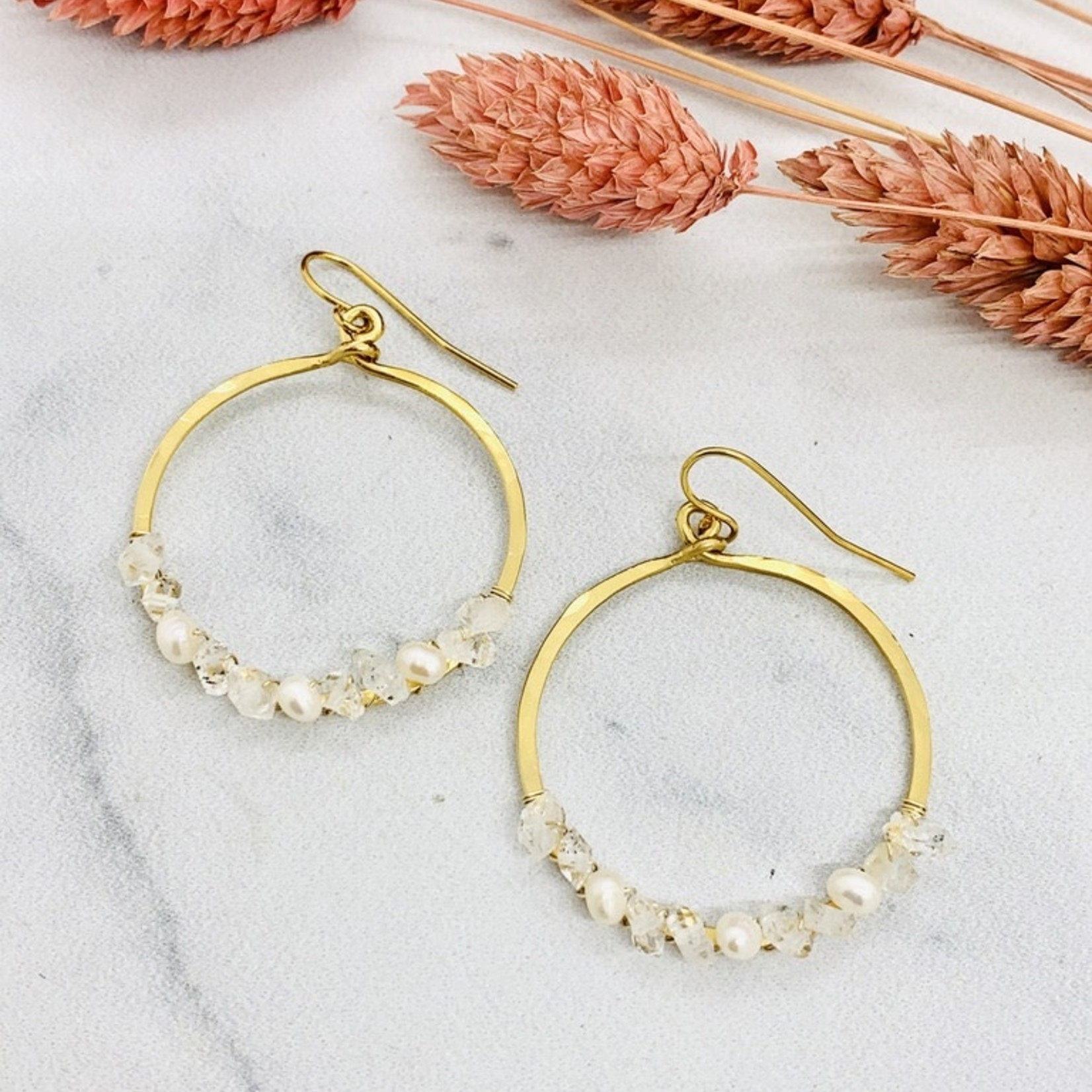 Native Gems FAIRYDUST 14K GF small circle hoop earrings with a mix of hand wrapped pearl and herkimer diamond