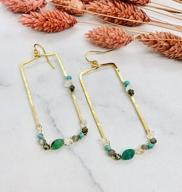 Native Gems FAIRYDUST emerald rectangle earrings, 14k GF with natural emerald, turquoise, pyrite, labradorite and herkimer diamond