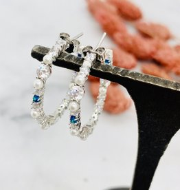 Native Gems WILD CHILD mini opal hoops | Blue Opal, White Opal, Clear CZ