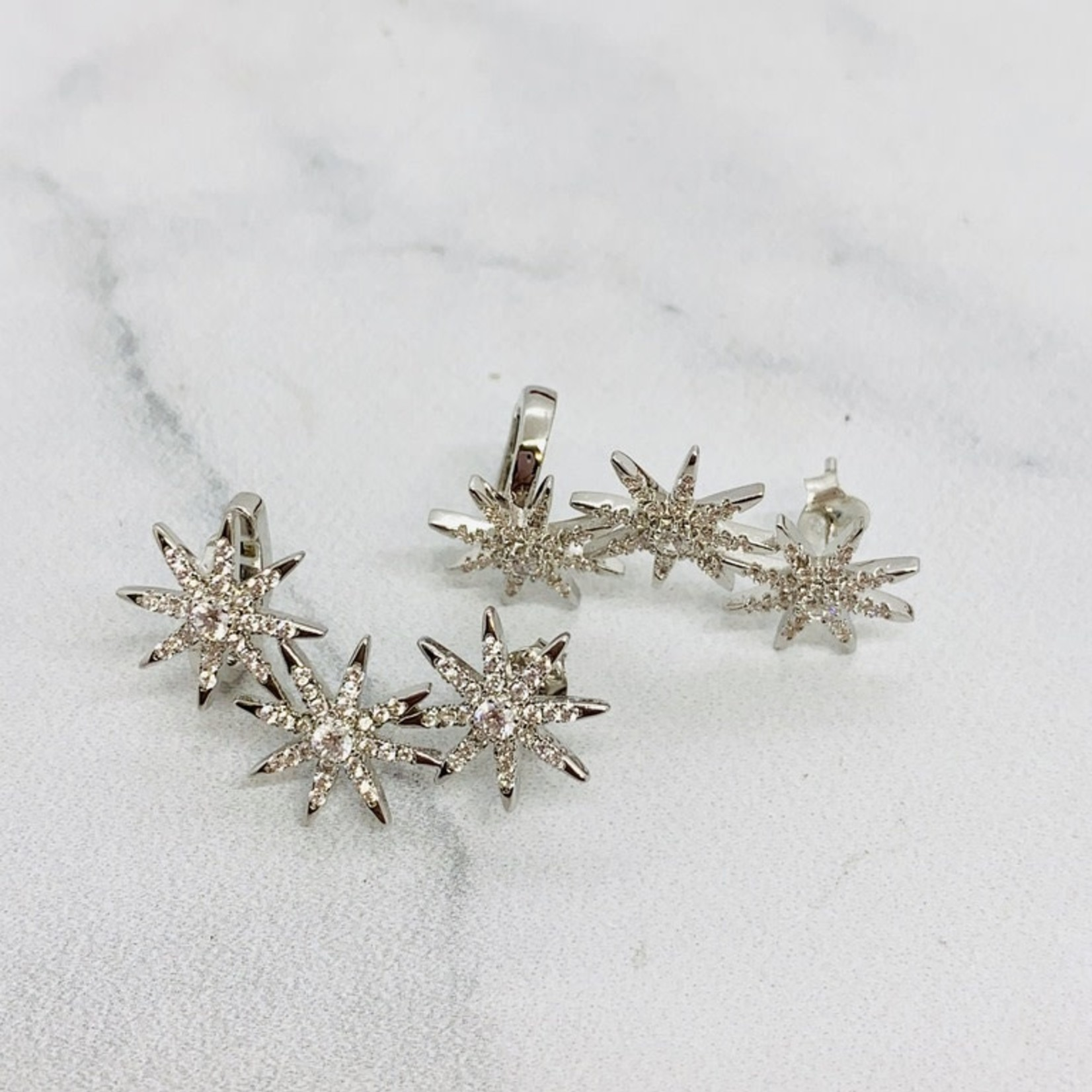 Native Gems CONSTELLATION ear crawlers in sterling silver with cz