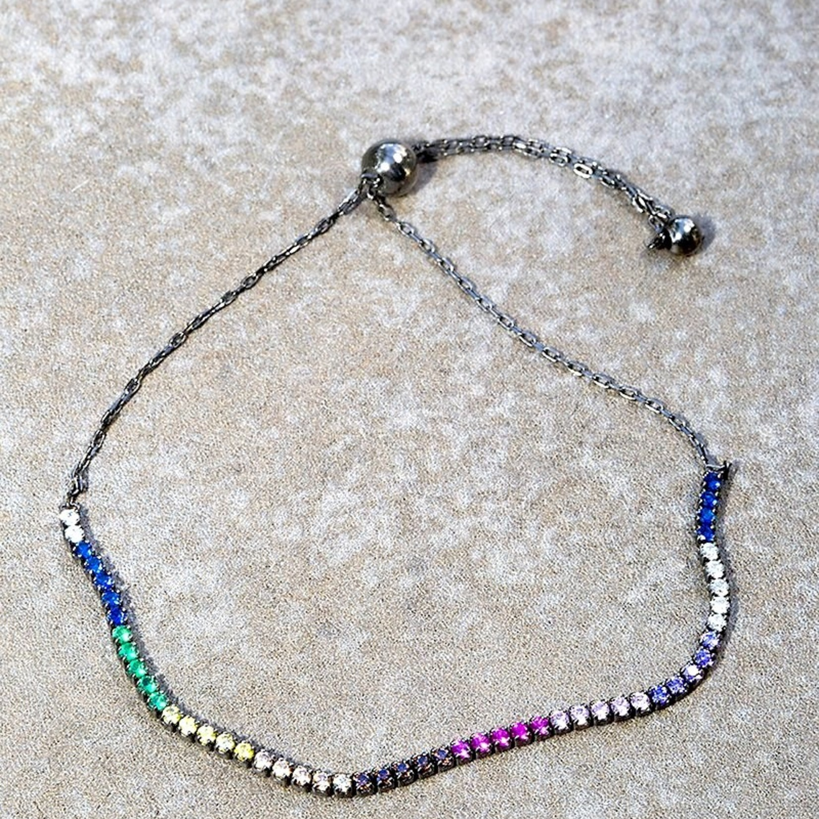 Native Gems PRISMATIC bracelet in black rhodium with multi colored CZ, adjustable