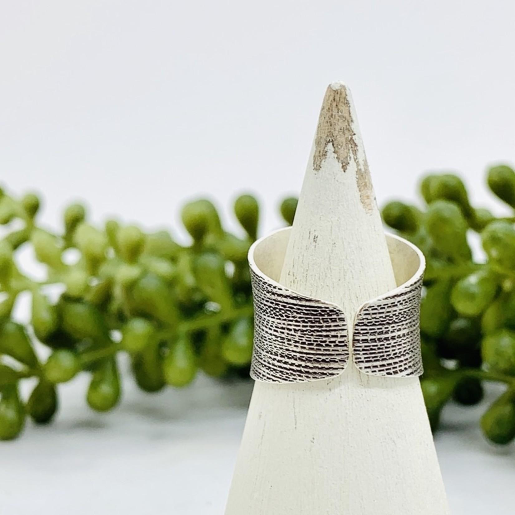 Anantara Silver Textured Banded Ring