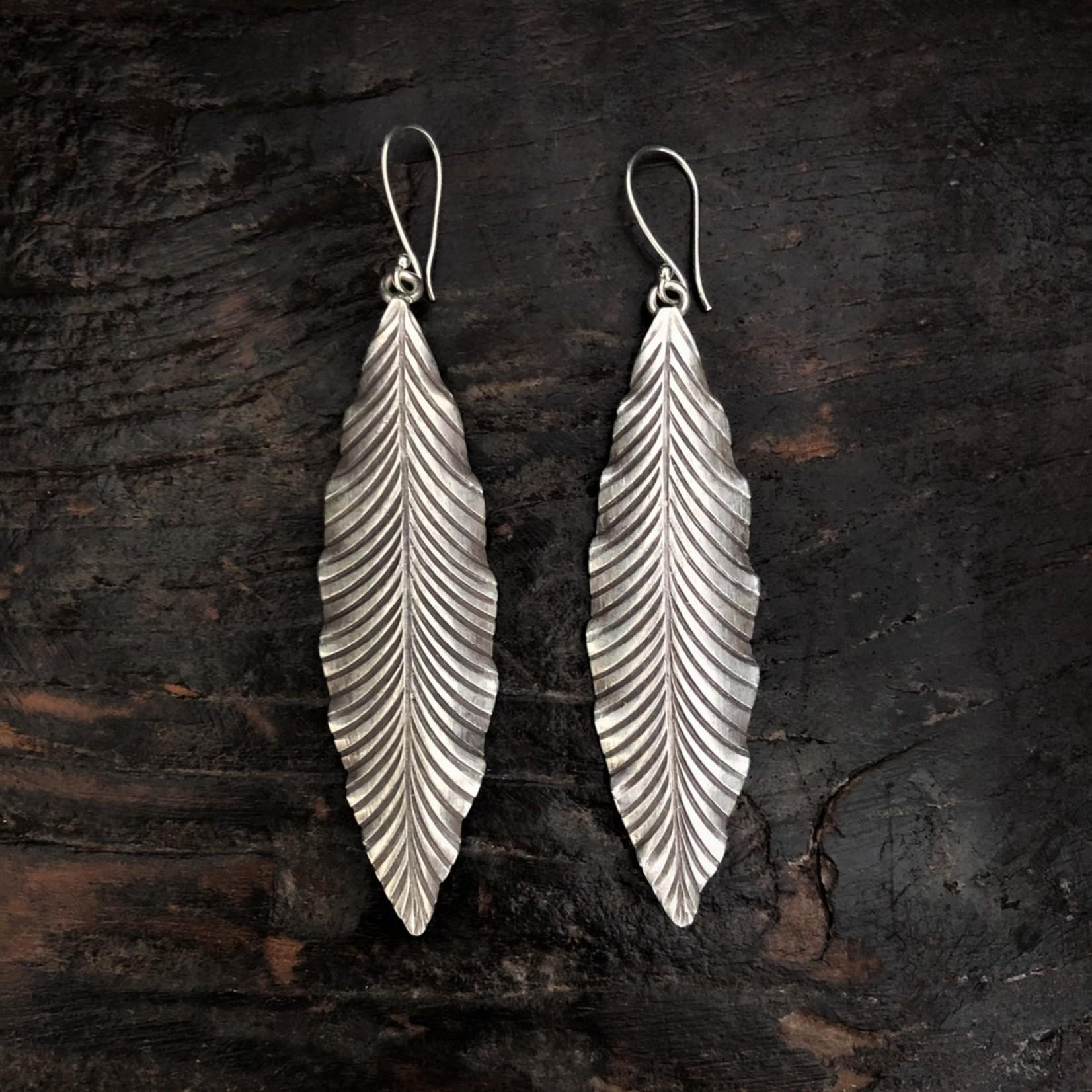 Anantara Silver Long Leaf Earrings