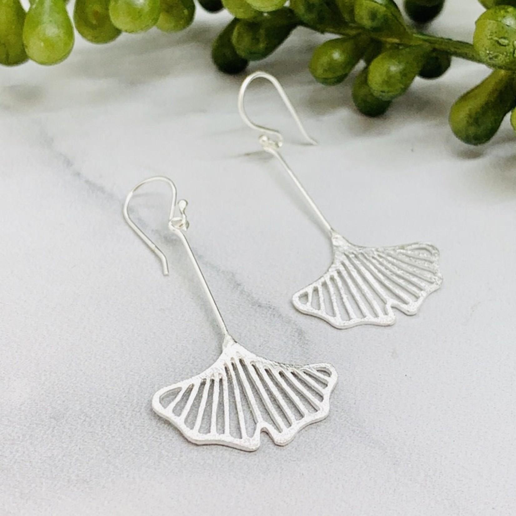 Anantara Silver Gingko Leaf Earrings