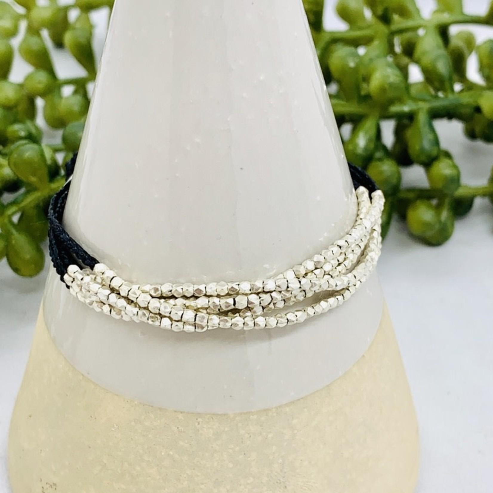 "Anantara Illuminate Bracelet, Silver & Linen, 7.25"""