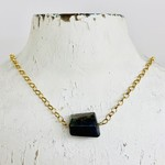 Handmade Necklace with dark labradorite nugget, big 14 k g.f. chain