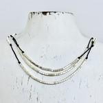 "Anantara Shimmering Layers Necklace, Silver & Linen, 32"""