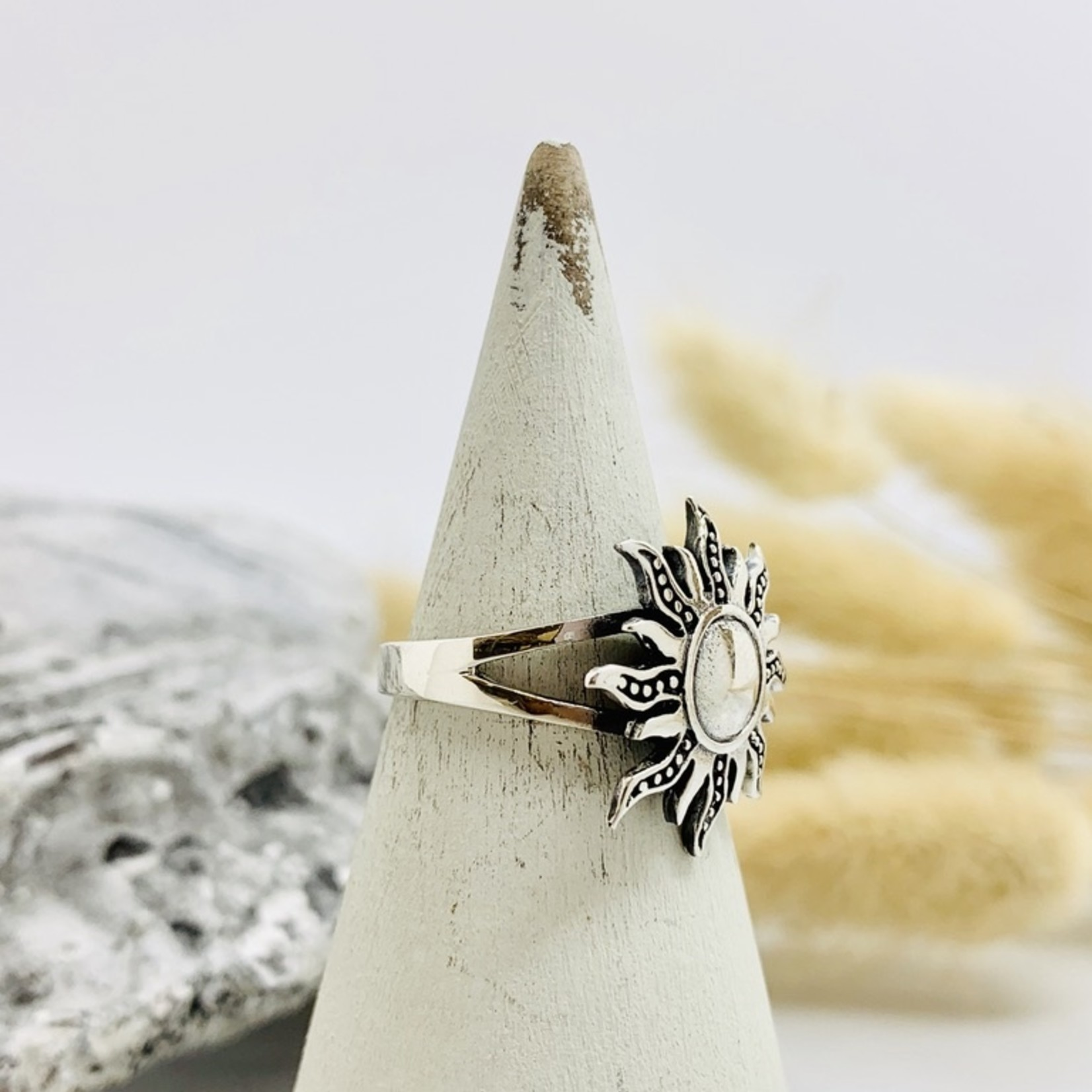 Sterling Silver Solid Sun Ring