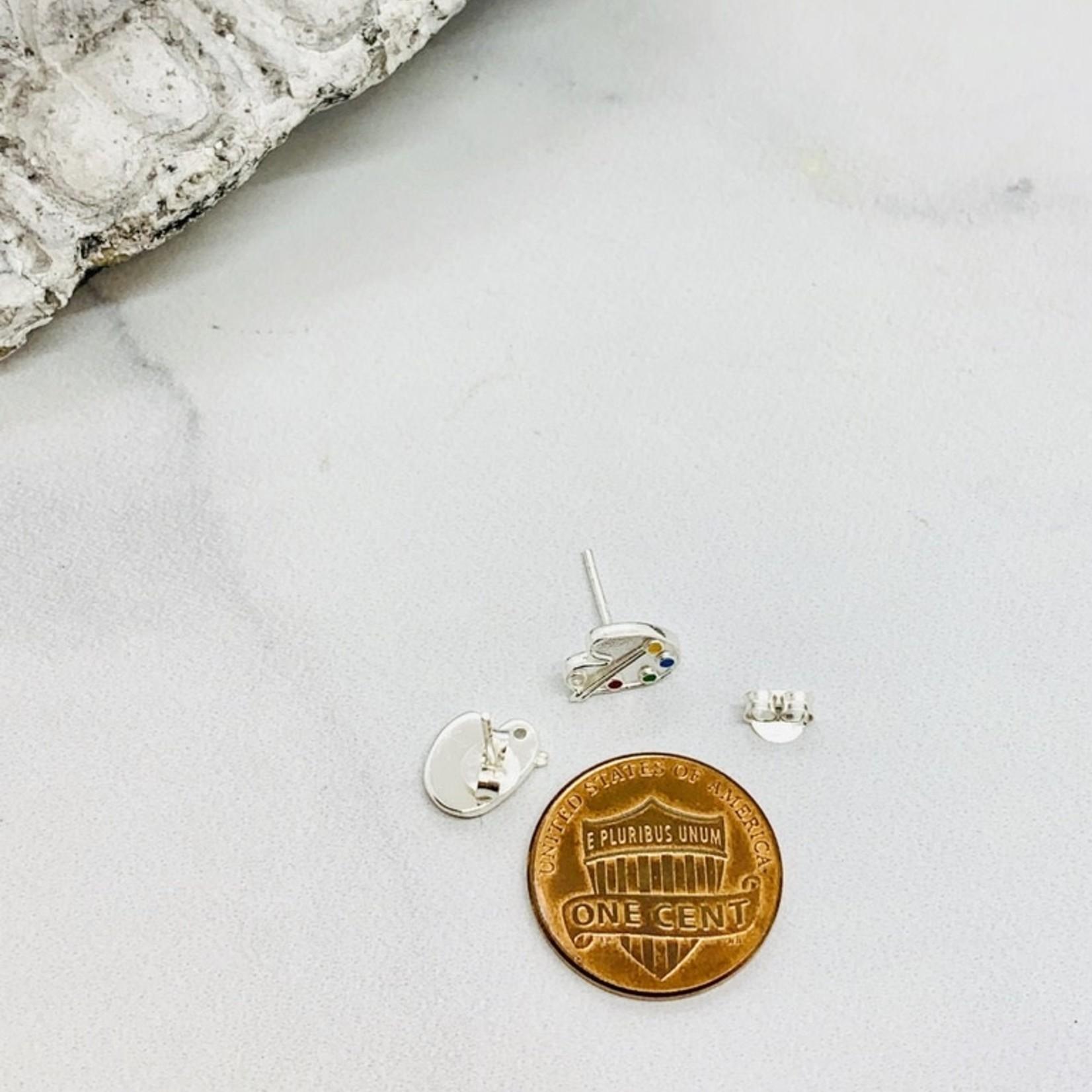Paint Palette Stud Earrings, Silver w/Enamel