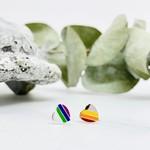Rainbow Heart Enamel Stud Earrings