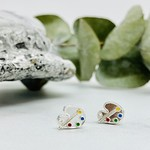 Paint Palette Stud Earrings, Silver w/Enamel
