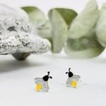 Lightning Bug Stud Earrings, Silver w/Enamel
