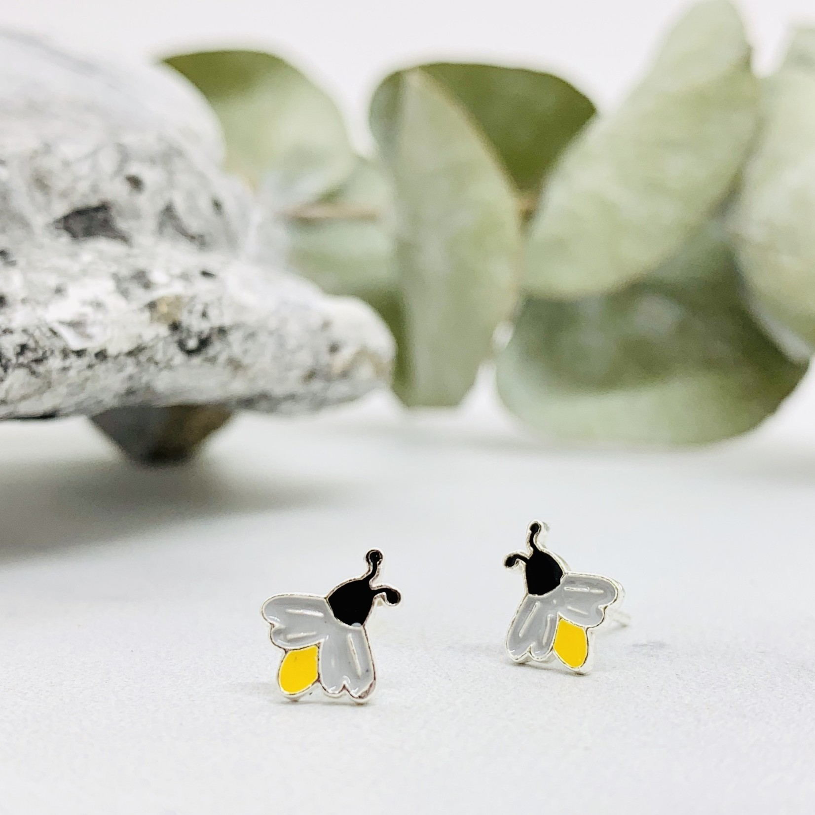 Lightning Bug Stud Earrings, Silver w/Enamel
