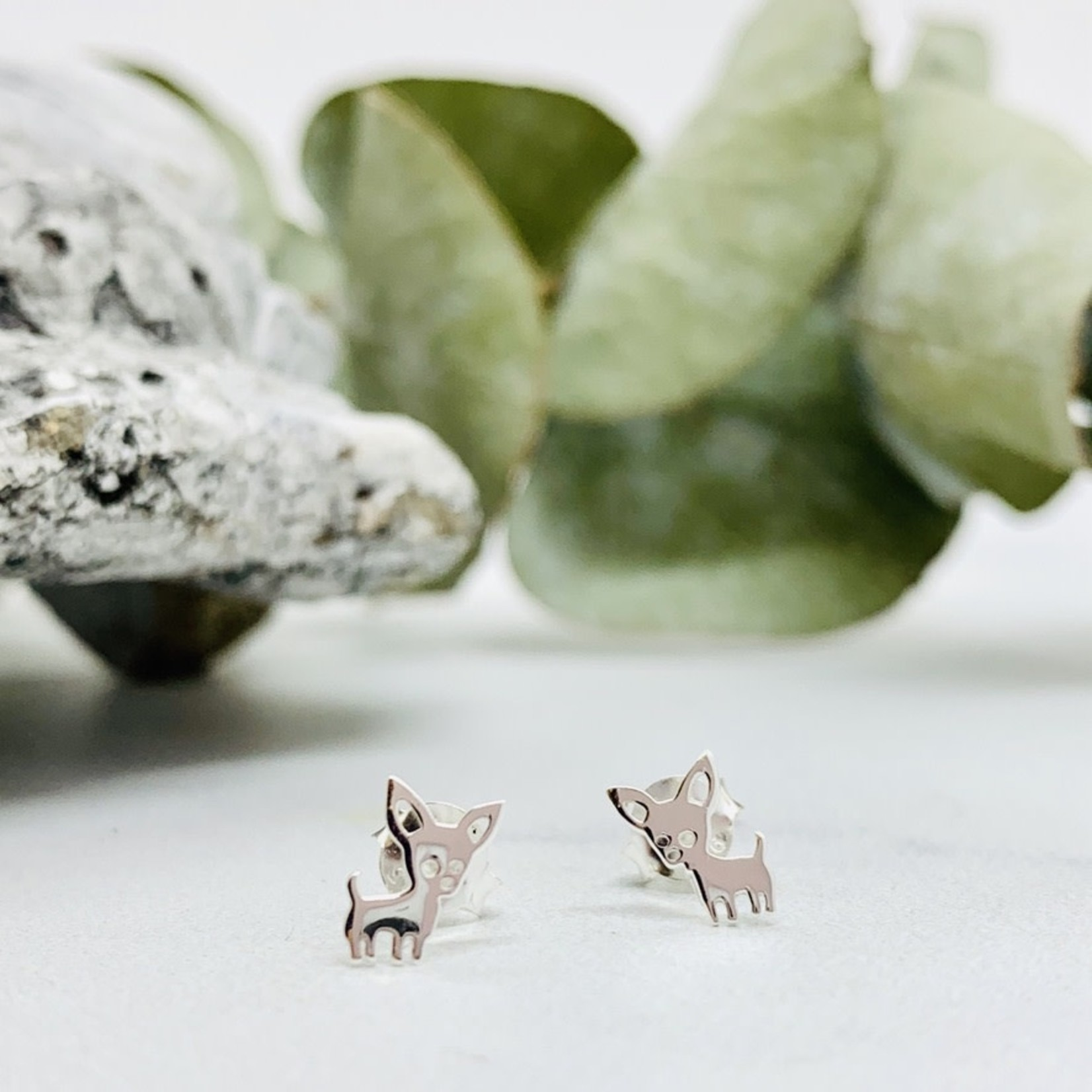 Chihuahua Dog Stud Earrings, Sterling Silver