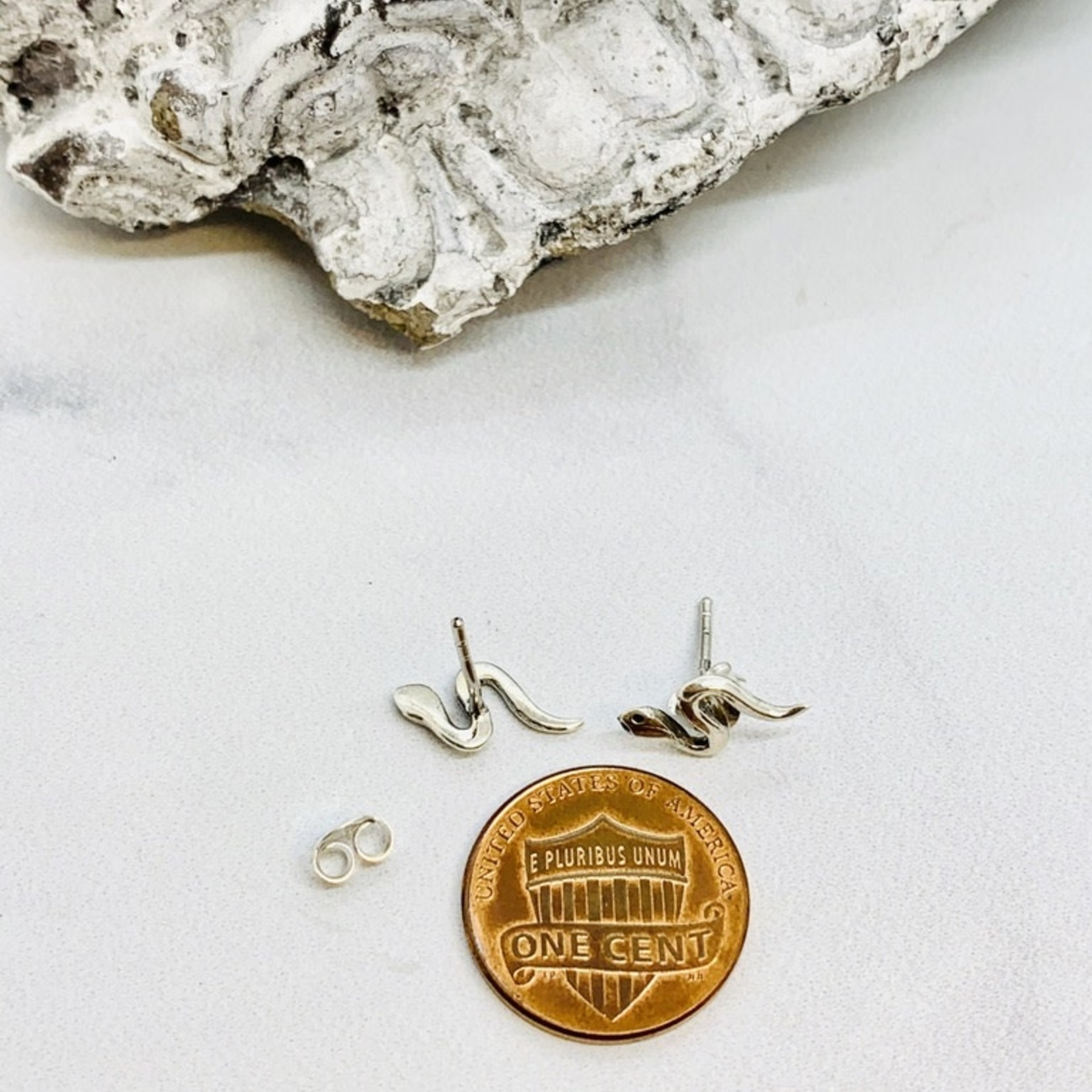 Snake Stud Earrings, Sterling Silver