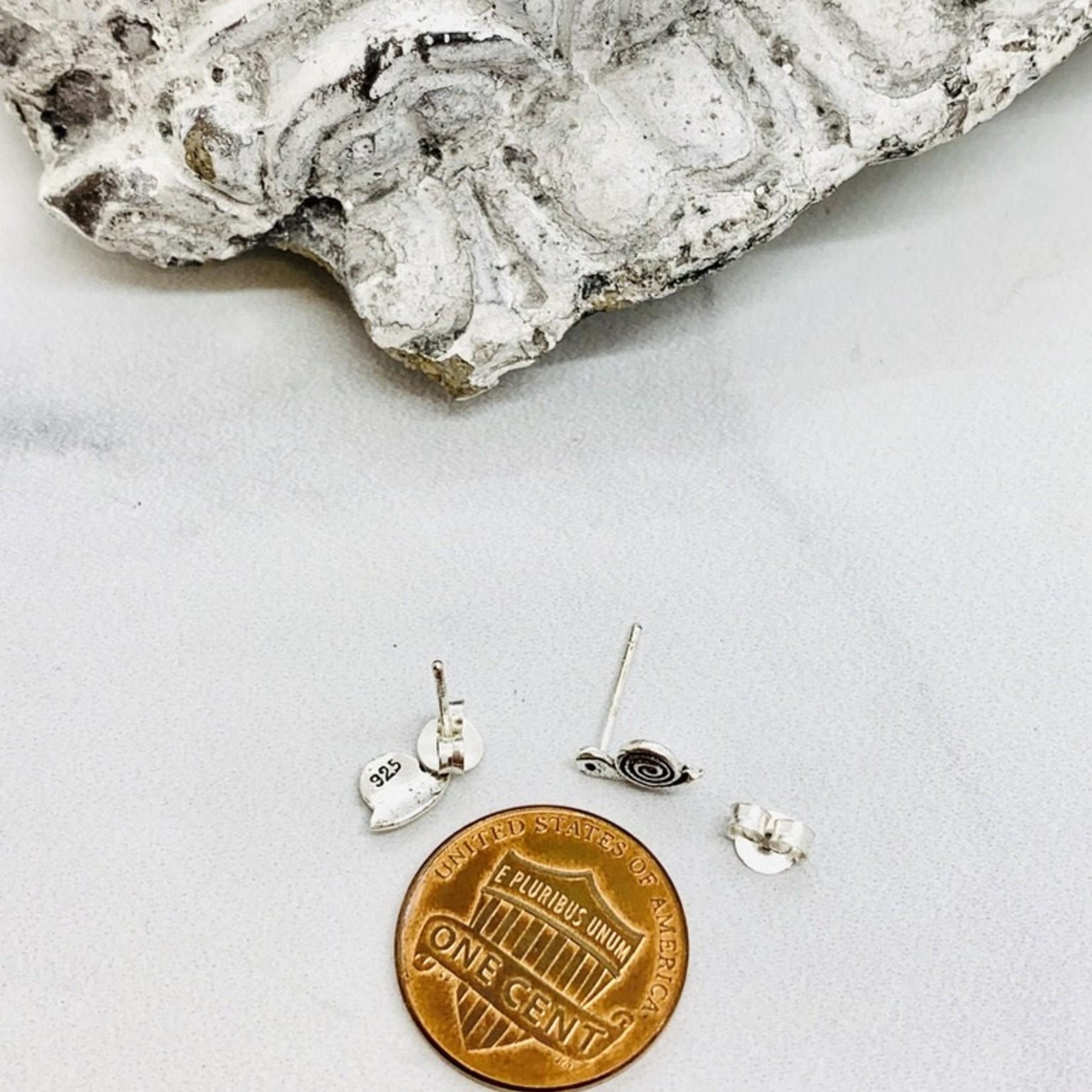 Snail Stud Earrings, Silver