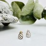 Pineapple Stud Earrings, Sterling Silver