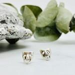 Silver Comedy / Tragedy Stud Earrings