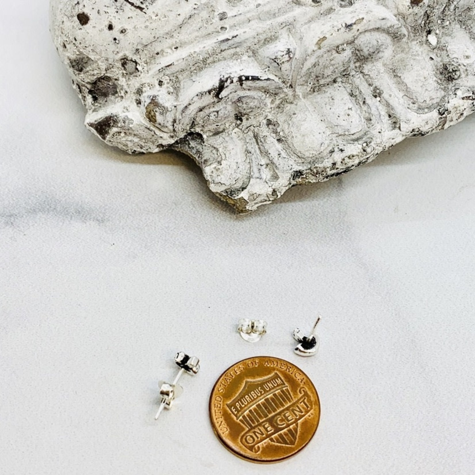 Small Mushroom Stud Earrings, Silver