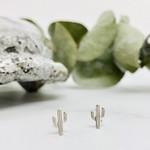 Cactus Stud Earrings, Sterling Silver