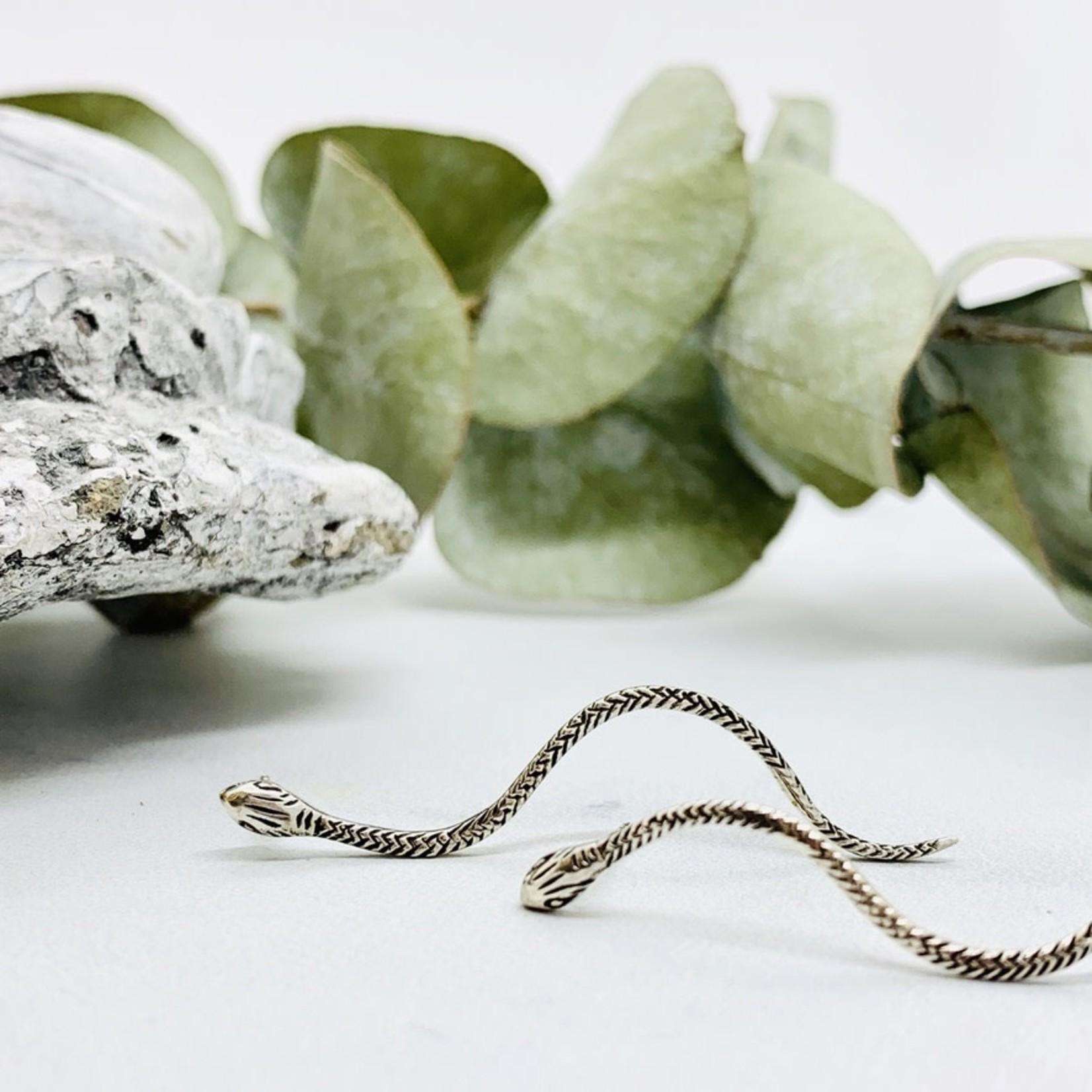 Sterling Silver Long Snake Earrings
