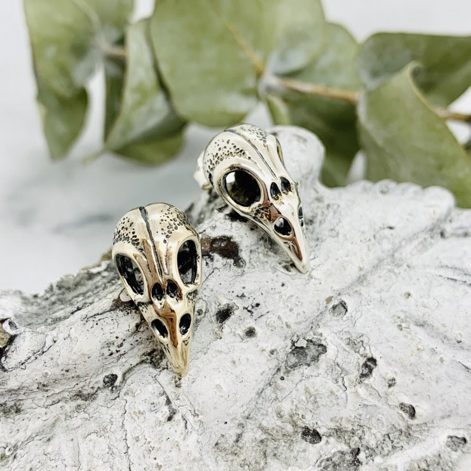 Nina Designs Large Bird Skull Stud Earring, Silver 21 x 11mm