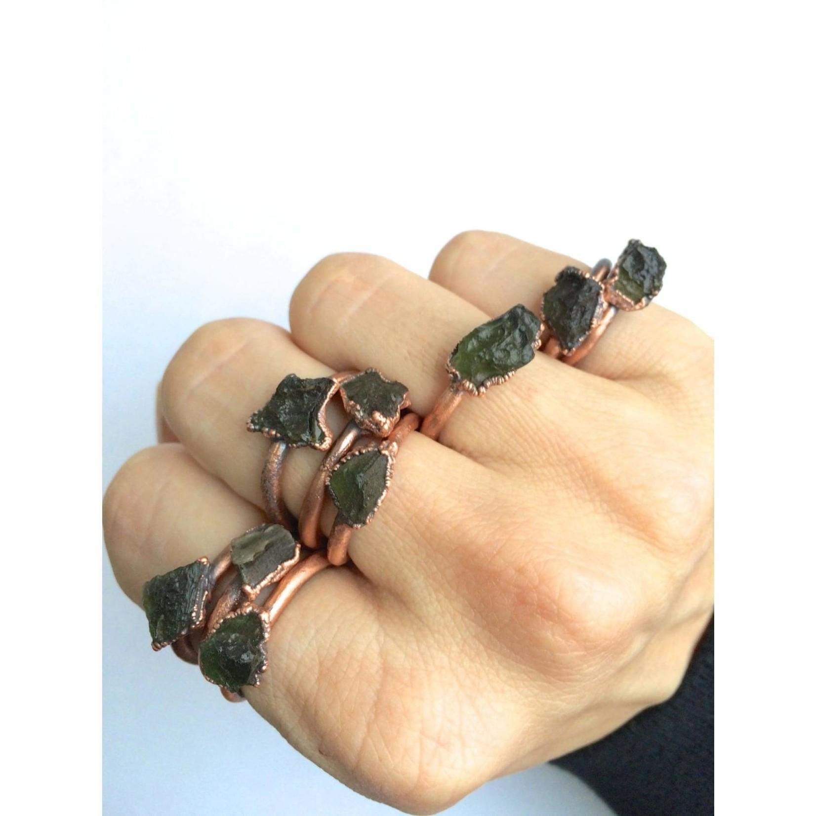 Rare Green Moldavite Ring