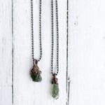"""Rare Green Moldavite Crystal Neckalce, 18"""""""