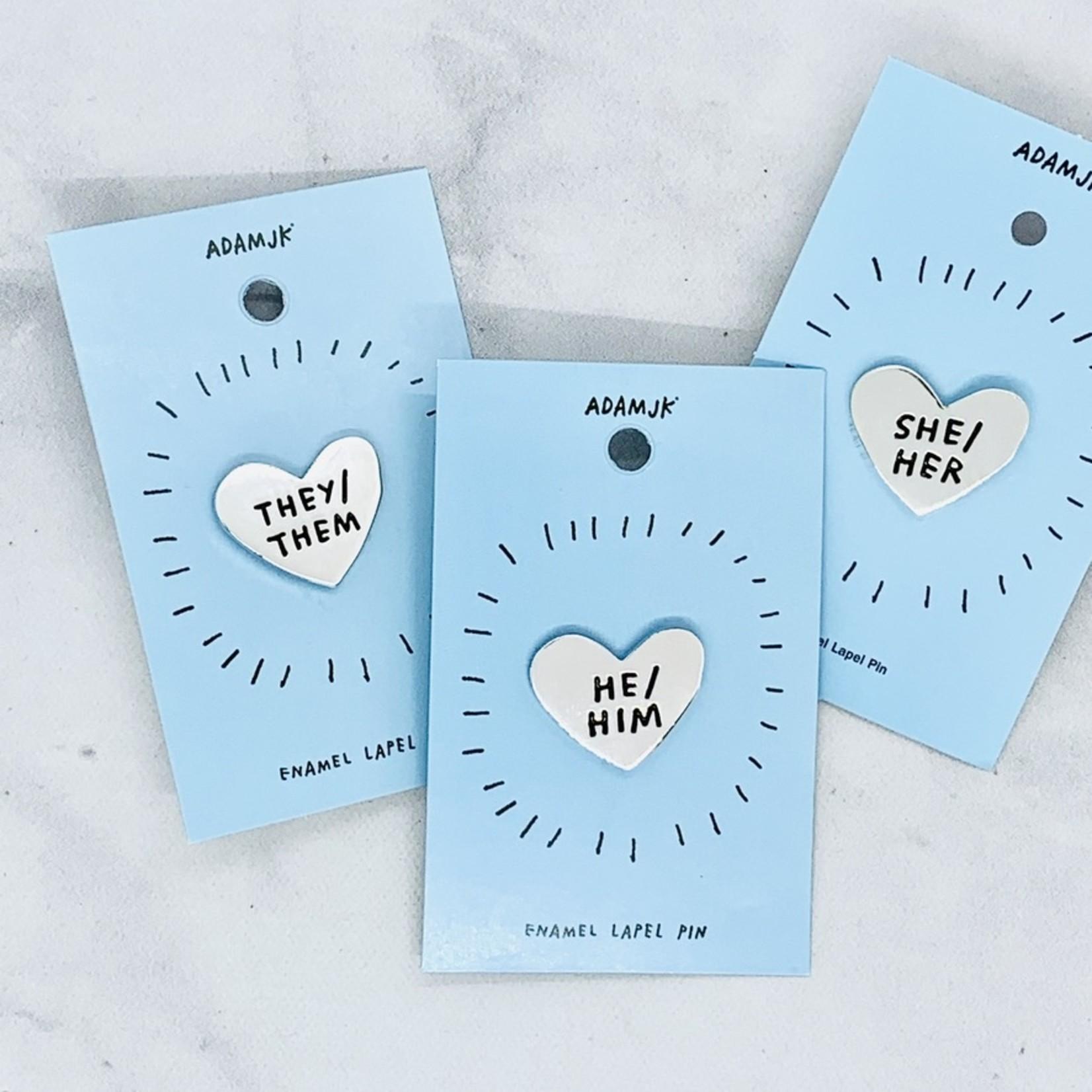 Heart Pronoun Pin
