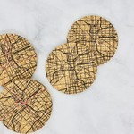 Indianapolis Map Cork Coasters