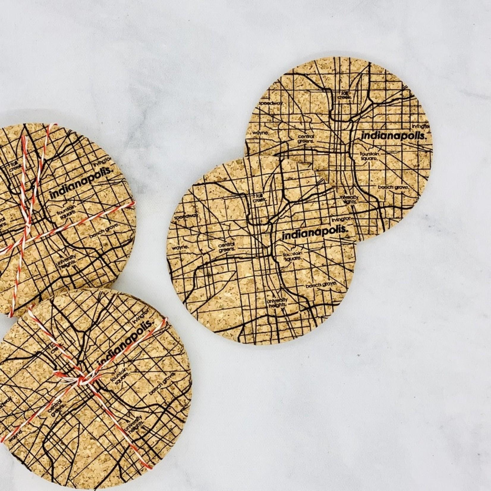 Indianapolis Map Cork Coasters