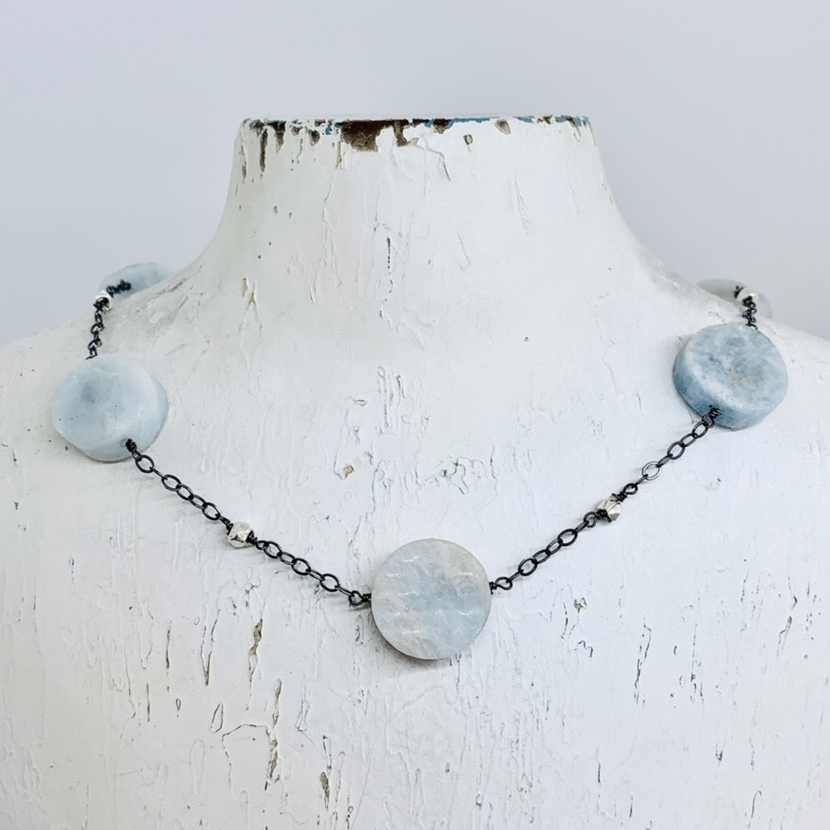 Handmade necklace with oxidized chain, 5 aquamarine coins, shiny faceted silver