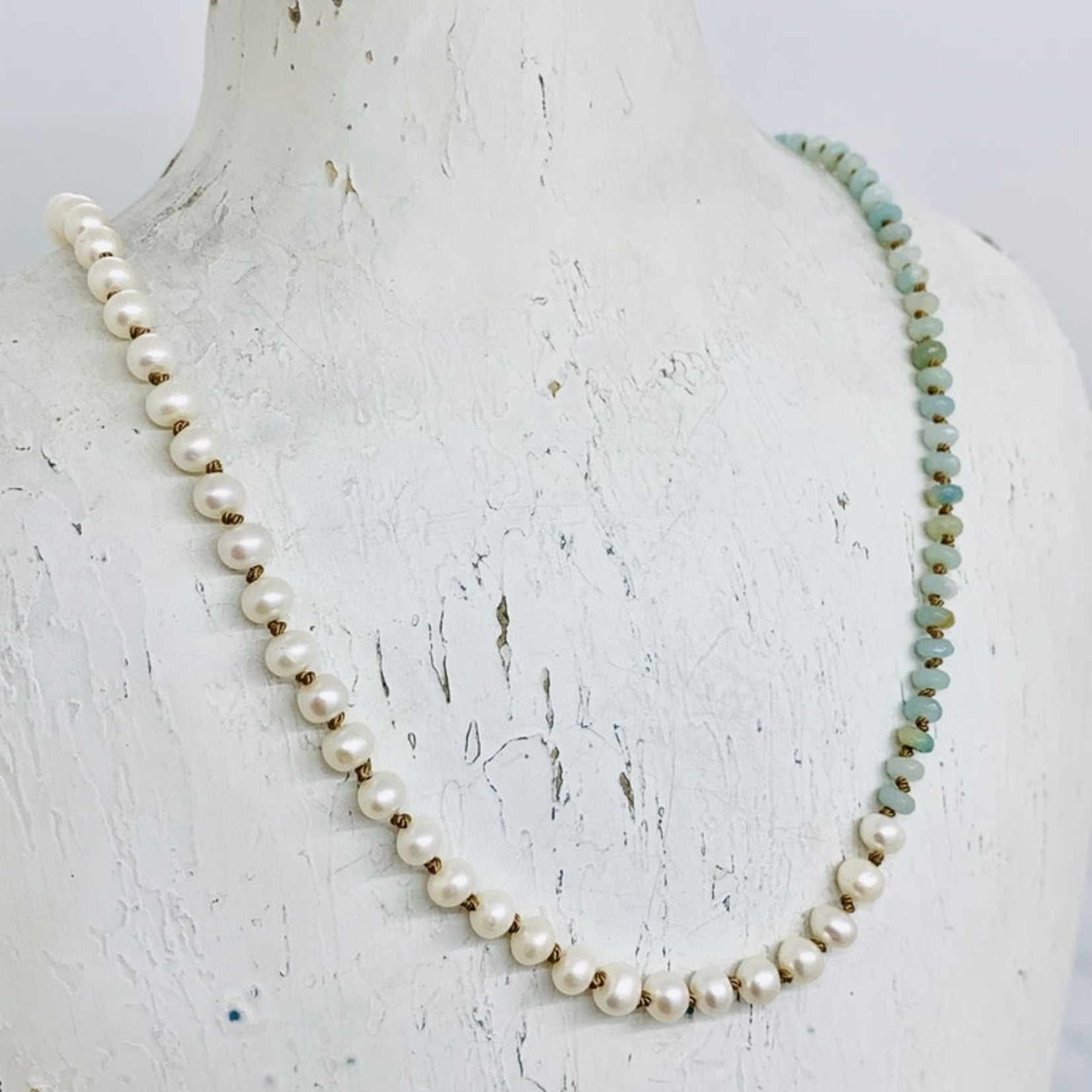 Handmade necklace with faceted amazonite, white pearls knotted on natural silk, toggle