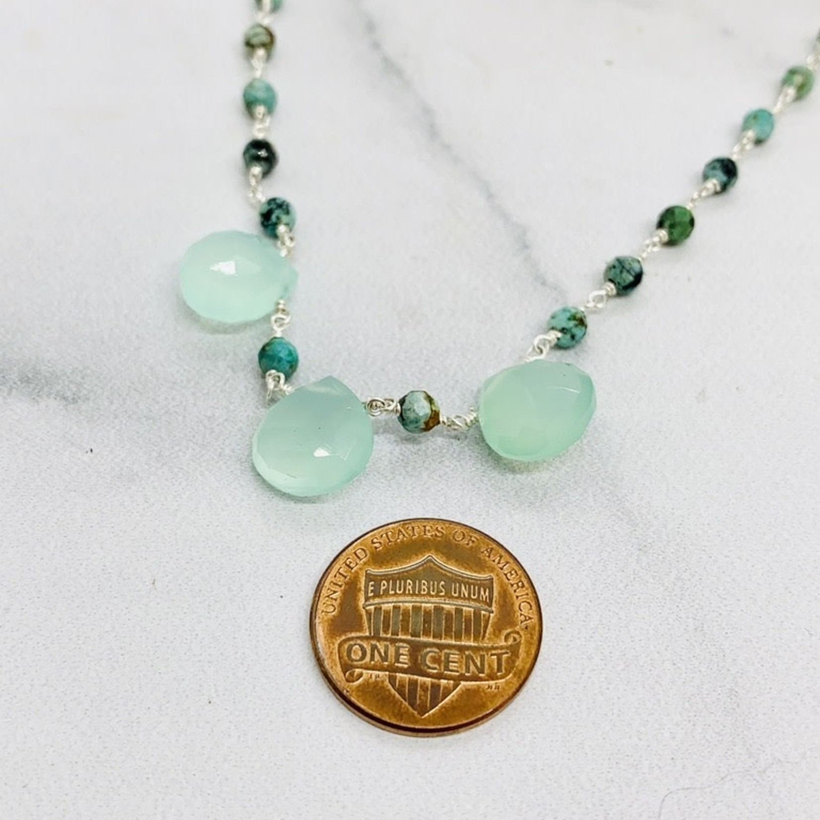 Handmade necklace with connected african turquoise, 3 green chalcedony