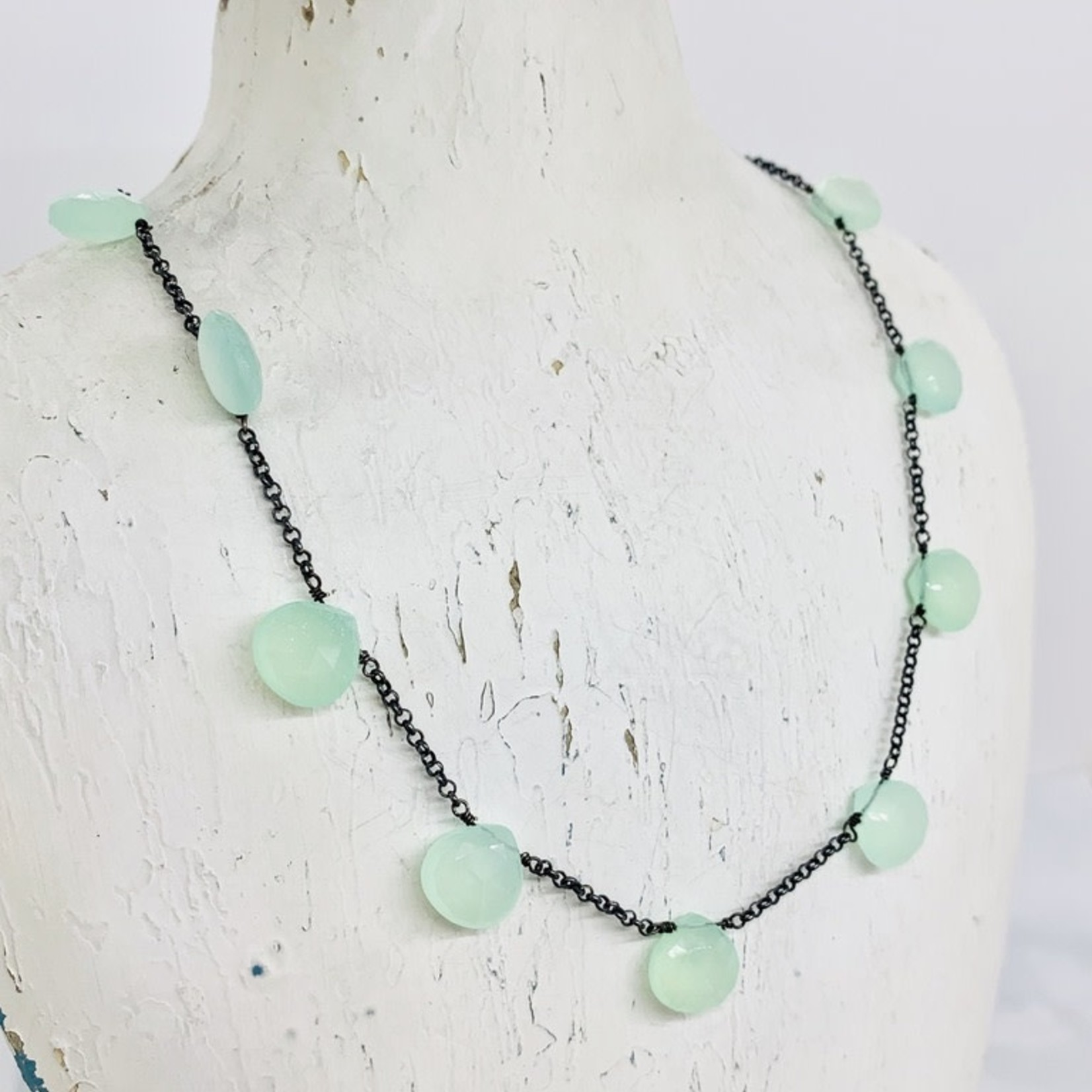 Handmade necklace with oxidized chain, 9 chalcedony briolette
