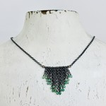 Handmade necklace with oxidized chains, emerald chevron shape