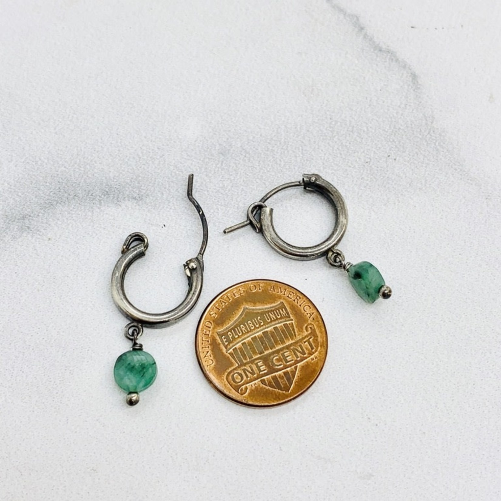 Handmade earrings with oxidized hoop, emerald coin