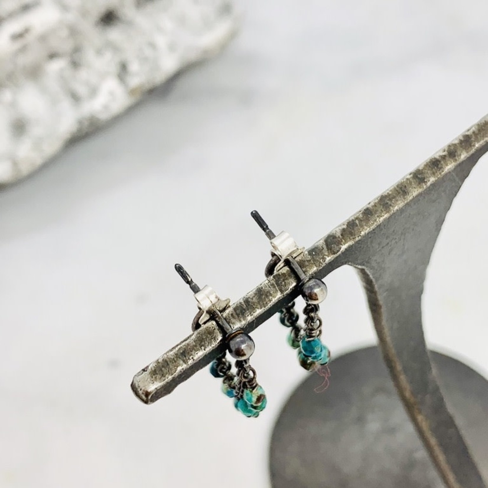 Handmade earrings with oxidized wrap around chrysocolla