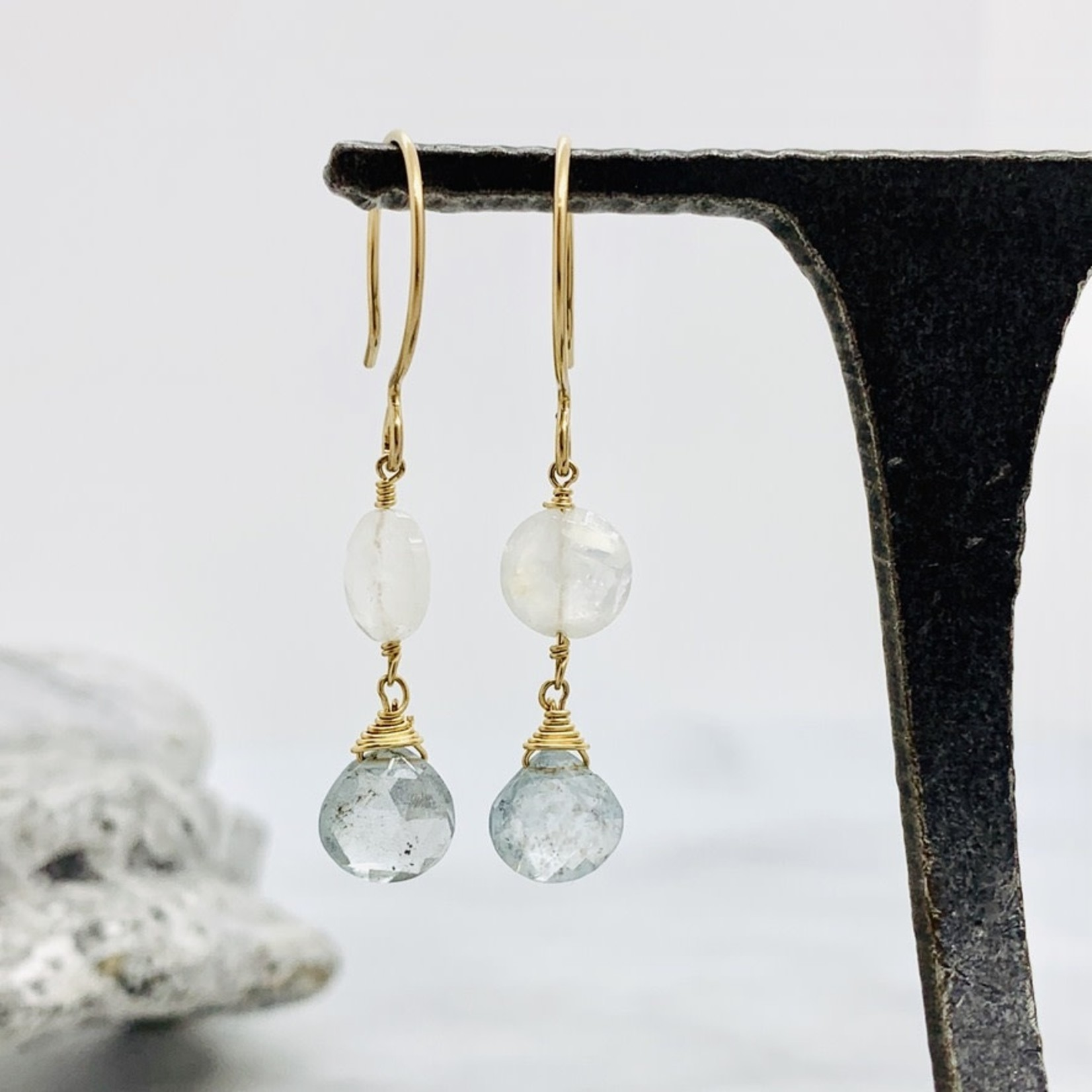 Handmade earrings with moonstone and moss aquamarine drops on GF wire