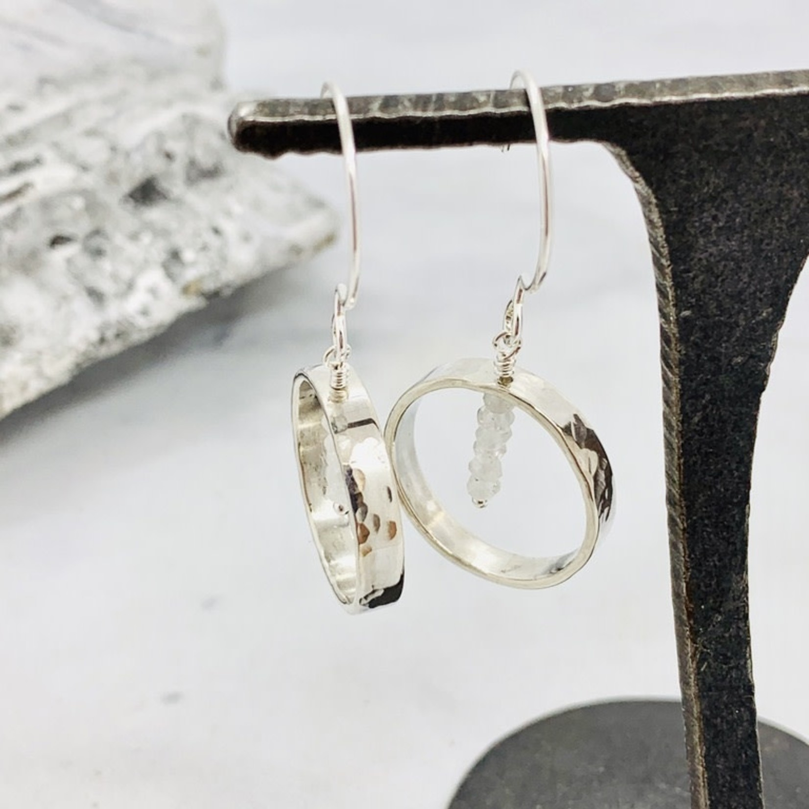 Handmade earrings with hammered ring, stack 6 rainbow moonstone