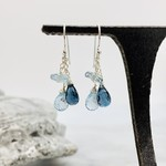 Handmade earrings with sky blue topaz disc, london blue topaz briolette, sky blue topaz briolette