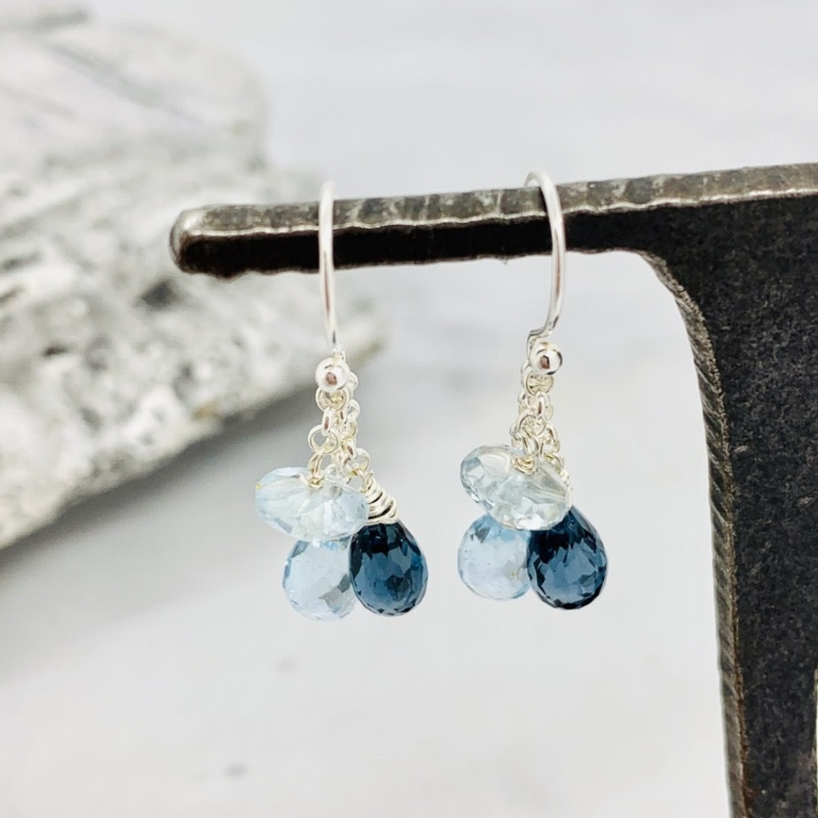 Handmade earrings with sky blue topaz disc, london blue topaz briolette, sky blue topaz briolette