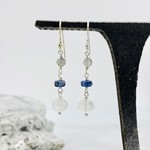 Handmade earrings with connected descending labradorite, kyanite, rainbow moonstone