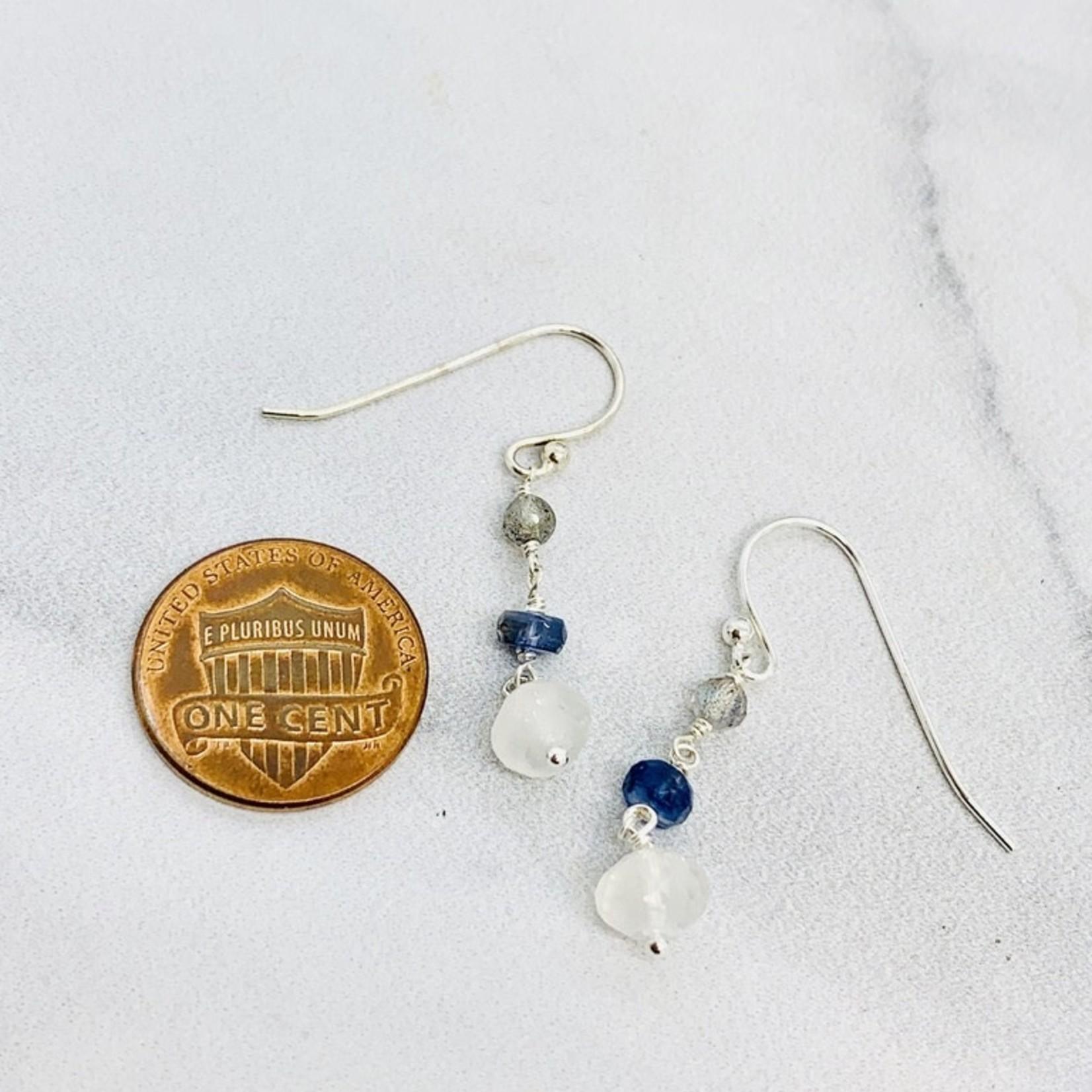 Handmade earrings with connected descending labradorite, kyanite, rainbow moonstone