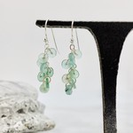 Handmade earrings with 8 roman sea glass discs on chain