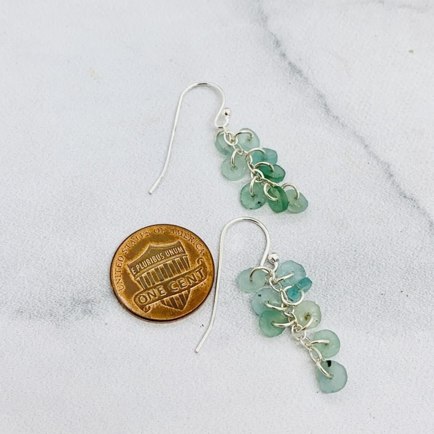 Handmade earrings with 8 roman sea glass discs on chain