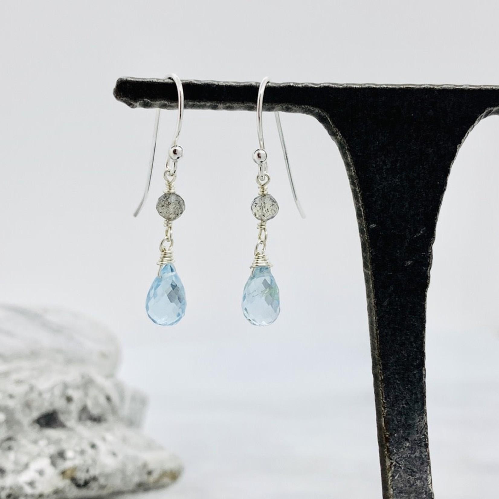 Handmade earrings with sky blue topaz, labradorite