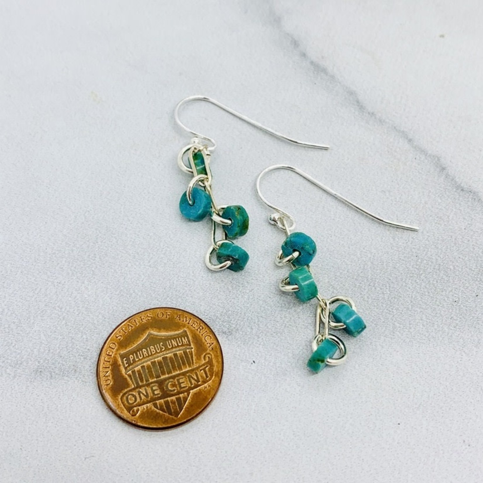 Handmade earrings with 4 turquoise discs on paperclip chain