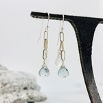 Handmade earrings with rainbow moonstone briolette, moss aquamarine briolette on paperclip chain